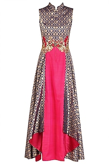 Persian Blue and Fuschia Pink Folded Layer Tunic
