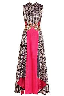Persian Blue and Fuschia Pink Folded Layer Tunic by Rishi & Soujit