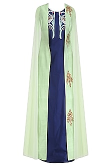 Navy Blue Long Tunic with Apple Green Floral Motifs Jacket