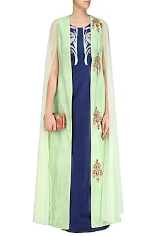 Navy Blue Long Tunic with Apple Green Floral Motifs Jacket by Rishi & Soujit