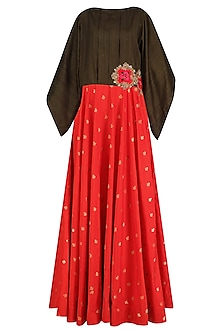 Red Brocade Long Tunic with Military Green Oversized Top