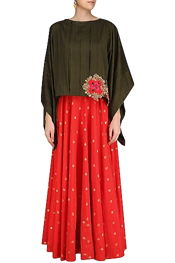 Red Brocade Long Tunic with Military Green Oversized Top by Rishi & Soujit