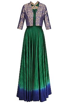Bottle Green Flared Tunic with Persian Blue Crop Jacket by Rishi & Soujit