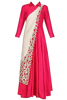 Fuschia Pink Collared Tunic with Off White Banarasi Floral Motifs Sash