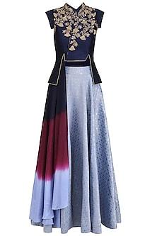 Navy Blue Embroidered Crop Jacket with Denim Blue Circular Skirt
