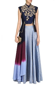 Navy Blue Embroidered Crop Jacket with Denim Blue Circular Skirt by Rishi & Soujit