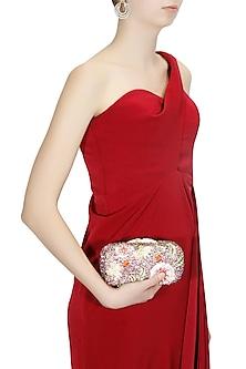 Multicoloured flower design swarovski embellished box clutch