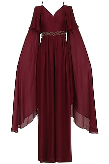 Plum Layered Sleeves Jumpsuit