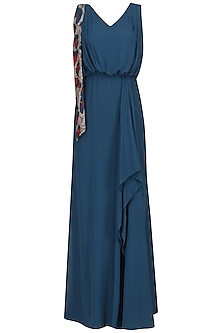 Blue Asymmetric Pleated Gown