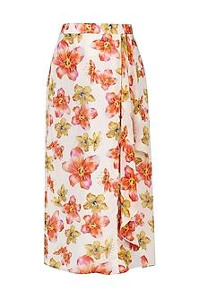 White Floral Print Drape Midi Skirt