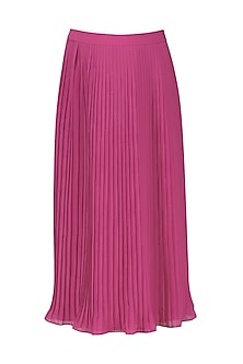 Magenta Pink Pleated Midi Skirt