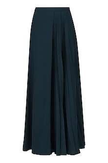 Oxford Blue Pleated Maxi Skirt
