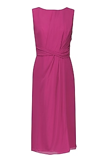 Magenta Pink Knee Length Drape Dress