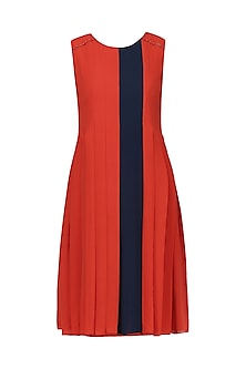 Scarlet Red Pleated Dress