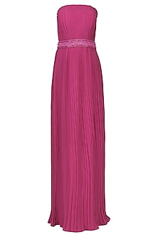 Magenta Pink Pleated Strapless Gown