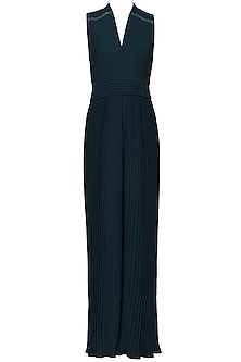 Oxford Blue Pleated Jumpsuit