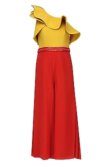 Scarlet Red And Yellow One Shoulder Culotte Jumpsuit
