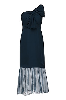 Oxford Blue Knee Length Drape Dress