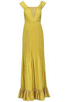 Yellow Drape Off Shoulder Maxi Dress