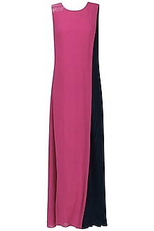 Magenta Pink Shift Maxi Dress