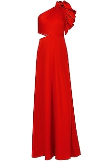 Scarlet Red One Shoulder Gown