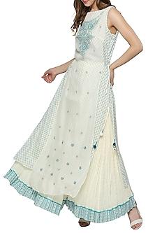 White & Blue Embroidered Printed Kurta With Sharara Pants by Ritu Kumar