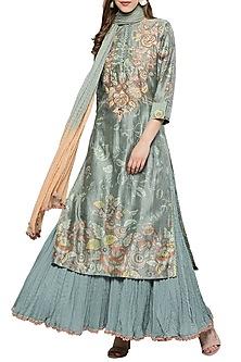 Green Floral Printed Sharara Set by Ritu Kumar-EDITOR'S PICK