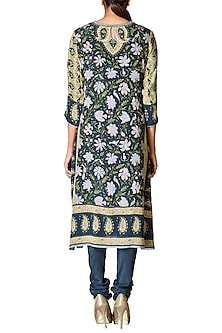 Navy Blue Printed Kurta Set by Ritu Kumar