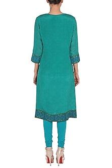 Jade & Turquoise Printed Kurta Set by Ritu Kumar