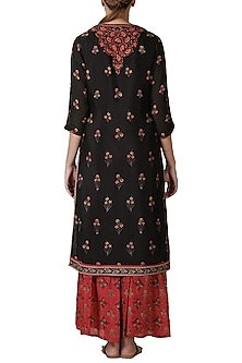 Black & Red Embroidered Gharara Set by Ritu Kumar