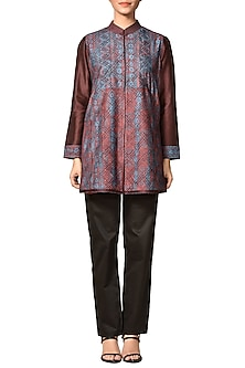 Brown & Indigo Blue Printed Kurta by Ritu Kumar