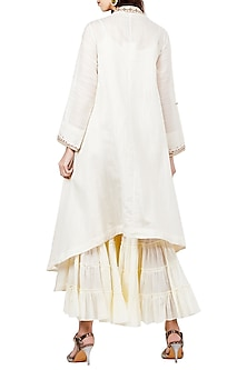 Off White Embroidered Long Kurta With Ivory Palazzo Pants by Ritu Kumar