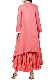 Pink Embroidered Long Kurta With Sharara Pants by Ritu Kumar