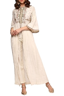 Ivory Embroidered Long Kurta by Ritu Kumar