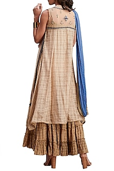 Beige Embroidered Printed Sharara Set by Ritu Kumar