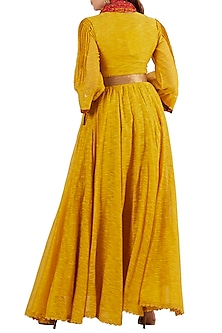 Yellow Kurta With Coral Scarf & Gold Belt by Ritu Kumar
