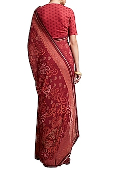 Red Floral Printed Saree by Ritu Kumar