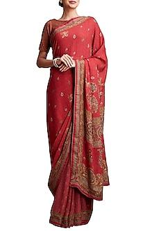 Red Printed Floral Saree by Ritu Kumar-EDITOR'S PICK