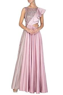 Berry Ash & Lilac Embroidered Asymmetrical Gown by Ruceru Couture