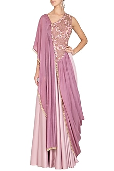 Mauve Embroidered Kurta With Cone Skirt by Ruceru Couture
