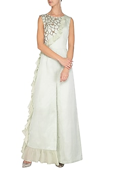 Mint Green Embroidered Jumpsuit by Ruceru Couture