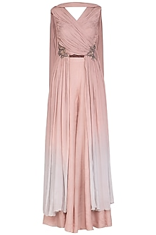 Dusty Pink Embroidered Crossbody Top With Sharara Pants by Ruceru Couture
