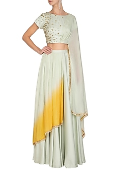 Mint Green Embroidered Cone Lehenga Set by Ruceru Couture