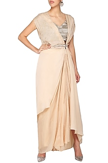 Peach embroidered cape with blouse and skirt by Ruceru Couture