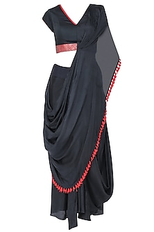 Navy blue embroidered drape saree set