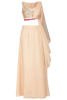 Peach embroidered drape blouse with skirt