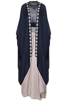 Navy blue draped cape with blouse and skirt
