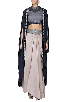 Navy blue draped cape with blouse and skirt by Ruceru Couture