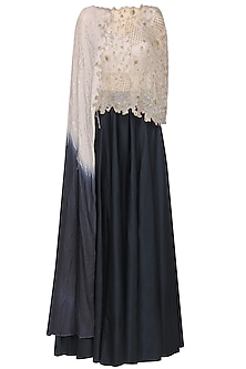 Victorian grey embroidered cape with blouse and skirt by Ruceru Couture