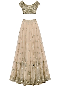 Off White Sequins Embroidered Lehenga and Blouse Set